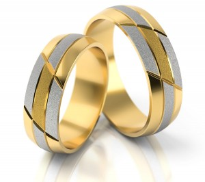Pair of gold  wedding rings model 103
