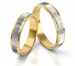 Pair of gold  wedding rings model 044