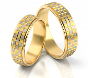 Pair of gold  wedding rings model 080