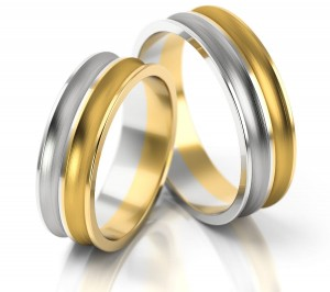 Pair of gold  wedding rings model 170