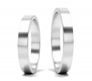 Pair of gold  wedding rings model FLAT  3 mm