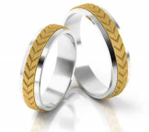 Pair of gold  wedding rings model 062