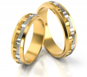 Pair of gold  wedding rings model 094