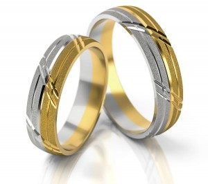 Pair of gold  wedding rings model 051