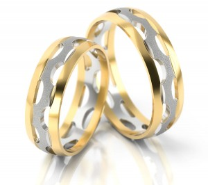 Pair of gold  wedding rings model 046