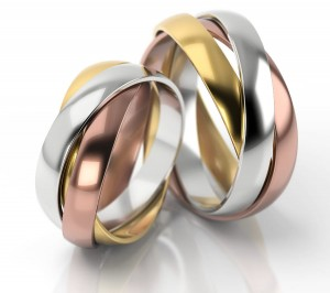 Pair of gold  wedding rings model 056