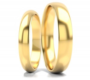 Pair of gold  wedding rings model D shape  3 -5mm  with zircons