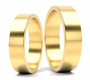 Pair of gold  wedding rings model FLAT 5 mm