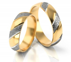 Pair of gold  wedding rings model 004