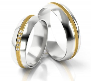 Pair of gold  wedding rings model 256