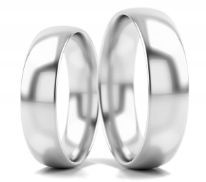 Pair of gold  wedding rings model D shape 5 mm