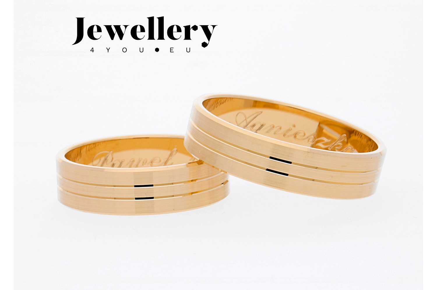 Gold wedding rings 206 without zircons
