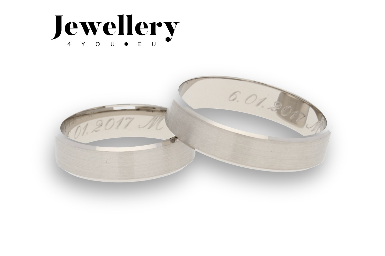 Flat bevel white gold wedding rings